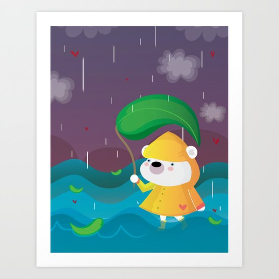 Walk on the rain Art Print