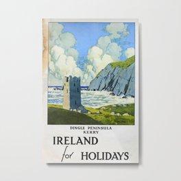 Ireland for Holidays Vintage Travel Poster Metal Print