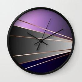 Purple, gray, black, dark blue. Wall Clock