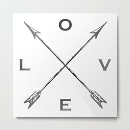 Watercolor Love Arrows Metal Print