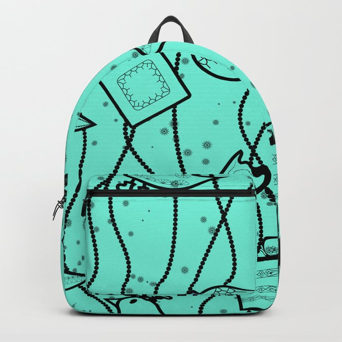 Turquoise bright Christmas pattern Christmas pattern . Backpack