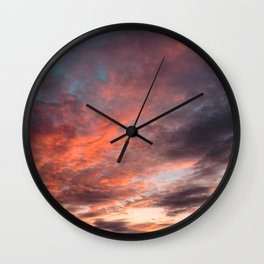 Colourful Sunset Clouds - Anglesey, North Wales Wall Clock