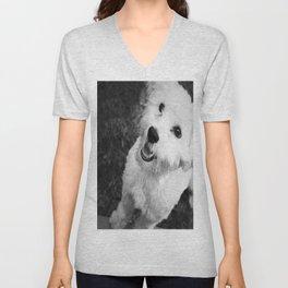 A Puppy Saying Hello Black and White Unisex V-Neck
