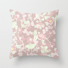 Cherry Blossom and Bird Happiness in Sepia Rose Throw Pillow