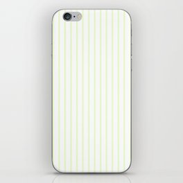 Pale Cucumber Pin Stripe on White iPhone Skin