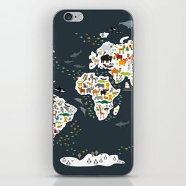 Cartoon animal world map for kids, back to schhool. Animals from all over the world iPhone Skin