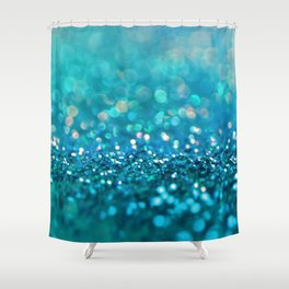 Teal turquoise blue shiny glitter print effect - Sparkle Luxury Backdrop Shower Curtain
