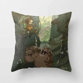 Casey in the Warehouse Throw Pillow