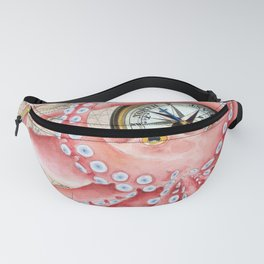 Red Octopus Vintage Map Compass Fanny Pack