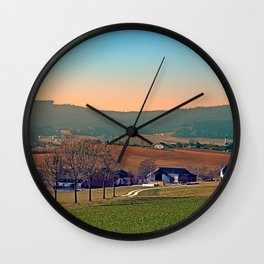 Avenue with trees, sunset and panorama   landscape photography Wall Clock