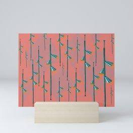 Mid Century Illumination - Teal Coral and Orange Palette Mini Art Print