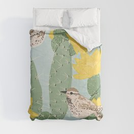 Prickly Pear with Wrens  Comforters