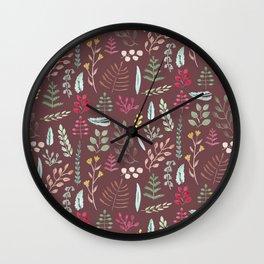 Winter leaves in bordeaux Wall Clock
