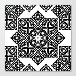 Celtic Knot Ornament Pattern Black and White Canvas Print