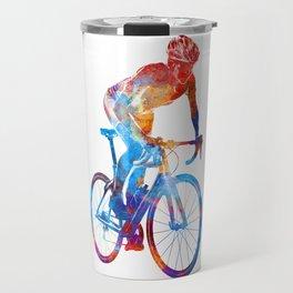 Woman triathlon cycling 06 Travel Mug