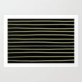 VA Lime Green - Lime Mousse - Bright Cactus Green - Celery Hand Drawn Horizontal Lines on Black Art Print