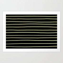 VA Lime Green - Lime Mousse - Bright Cactus Green - Celery Hand Drawn Horizontal Lines on Black Art Print