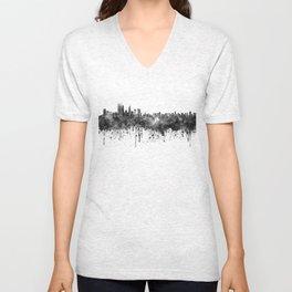 Perth skyline in black watercolor Unisex V-Neck