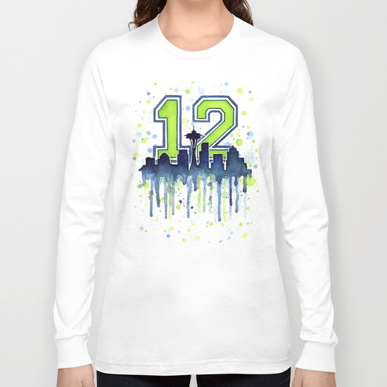 Hawks 12th Man Fan Art Seattle Space Needle Long Sleeve T-shirt