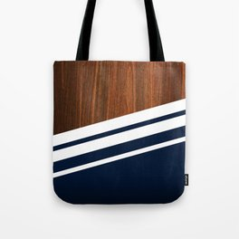 Wooden Navy Tote Bag