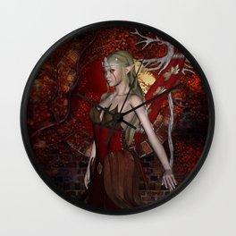 Beautiful fairy  in the night Wall Clock