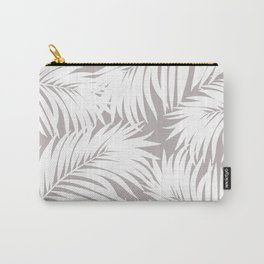 Palm Tree Fronds White on Soft Grey Hawaii Tropical Décor Carry-All Pouch