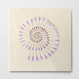 Flower Spiral on Vintage Paper Metal Print