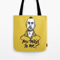 taxi driver Tote Bags featuring Taxi Driver by Dave Flanagan