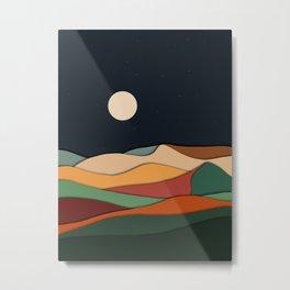 midnight retro mountain  Metal Print