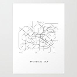 Paris Metro Underground Map Art Print