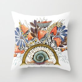 Twin Snails under vegetal roof Throw Pillow