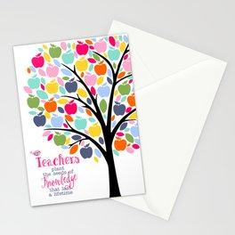 Teachers plant the seeds of knowledge Rainbow apple Tree Stationery Cards