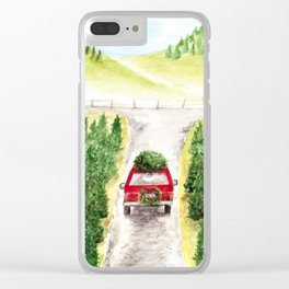 Christmas Tree Farm, Watercolor Art, Holiday, Winter Clear iPhone Case