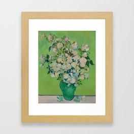 Copy of Vincent van Gogh Roses Floral Green Framed Art Print