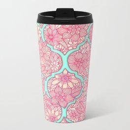 Moroccan Floral Lattice Arrangement in Pinks Metal Travel Mug