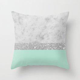White Marble Mint Silver Glitter Stripe Glam #1 #minimal #decor #art #society6 Throw Pillow