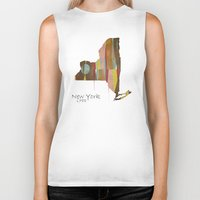 new york map Biker Tanks featuring new york state map by bri.buckley
