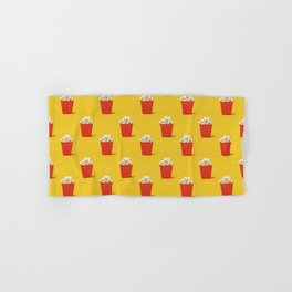 Mini red popcorn box with popcorn pattern on yellow. Hand & Bath Towel