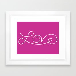 Love calligraphy print - Violet background with white Framed Art Print