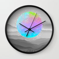 sagan Wall Clocks featuring Worlds That Never Were (Geodesic Moon) by soaring anchor designs