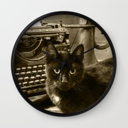 Black cat and vintage typewriter  Wall Clock