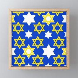 Hanukkah Holiday Star of David Pattern Framed Mini Art Print