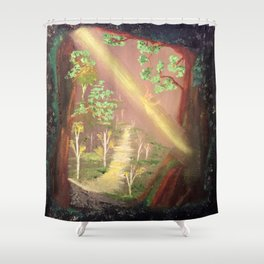 Faery forest cave Shower Curtain