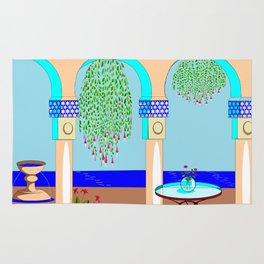 A Mediterranean Garden with Fountain Rug