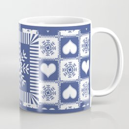 Hearts and Snowflakes Blue and White Coffee Mug