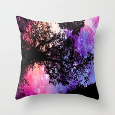 Black Trees Pink Purple Space Throw Pillow