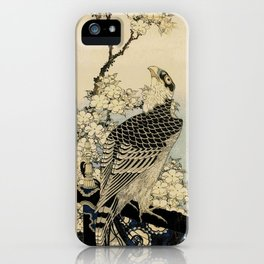Hokusai -falcon next to a plum tree in bloom - 葛飾 北斎,hawk,bird. iPhone Case