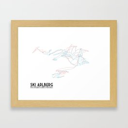 Ski Arlberg - St. Christoph and St. Anton - Unlabeled - Tirol, Austria - Minimalist Winter Trail Art Framed Art Print