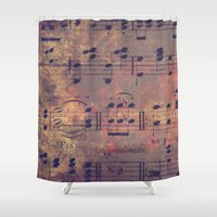 decal Shower Curtains featuring Notes I Keep by Charlene McCoy