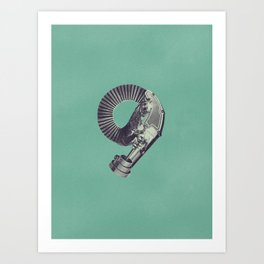 Typography - Steampunk Number 9 Art Print